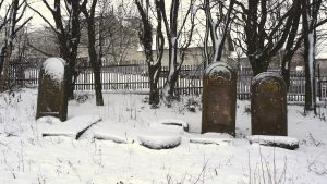 At the east side of the new cemetery, in winter