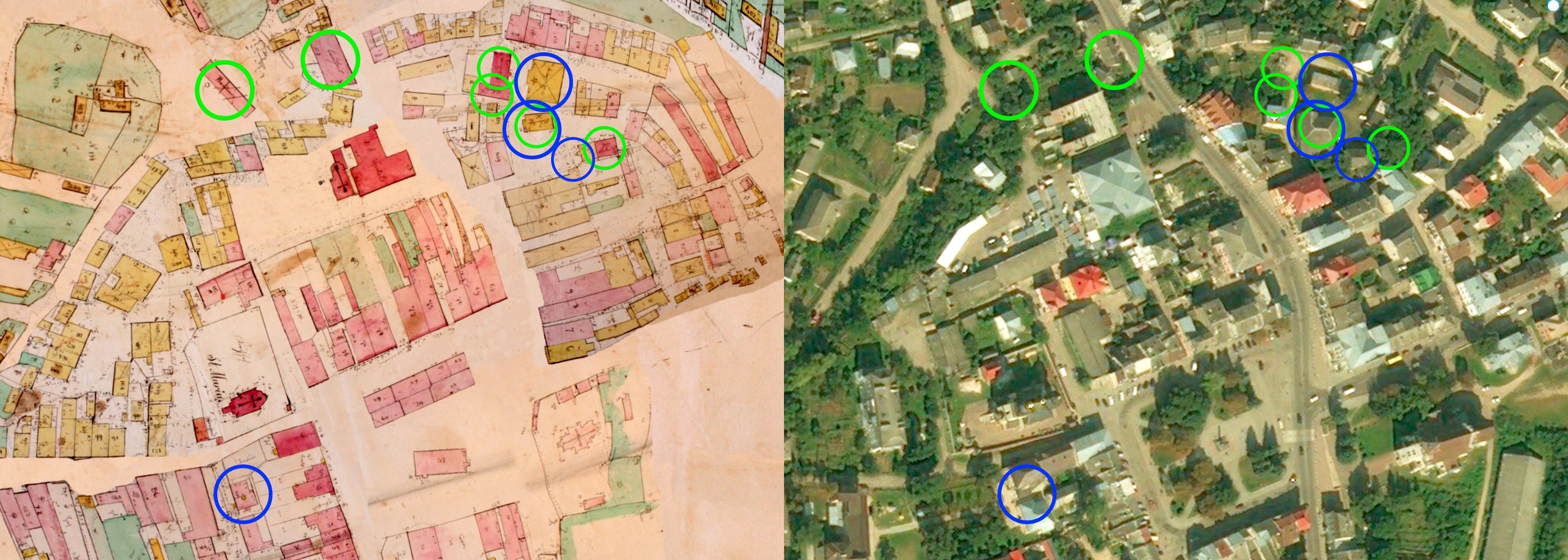 Known Jewish community buildings (blue circles) located located together with other recorded and possible Jewish buildings (green circles)